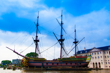 VOC Amsterdam. Dutch sailing ship