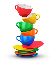 Stack of color coffee cups