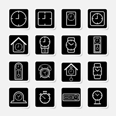 Clock and time symbol sticker icon set
