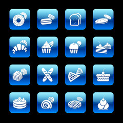 Bakery app icon set. Vector