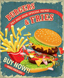 Vintage Burgers with fries set poster design