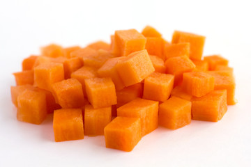 Carrot neatly chopped into cubes ready to be used