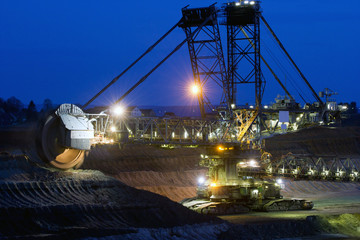 A very large excavator digging lignite in a mine