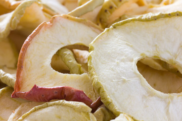 Dried apple rings with skin. Close up.