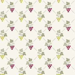 Seamless damask pattern with bunch of grapes