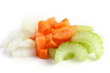 Classic mix of carrots, celery and onion all chopped up