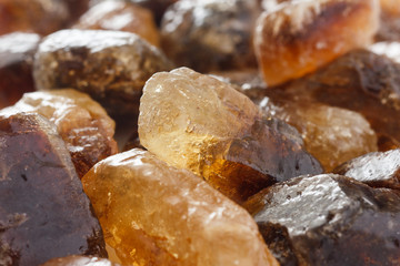 Detail of brown shiny sugar rock candy