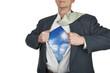Businessman showing superhero suit underneath his shirt standing