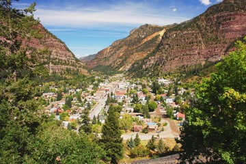 View from road of the town Ouray, Colorado