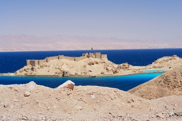 View of Pharaoh's Island and Saudi Arabia, Egypt