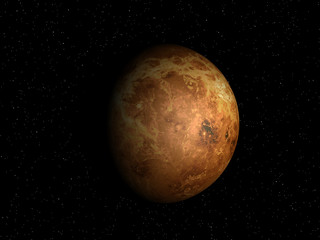 3D rendering of the planet Venus on a starry background, high re