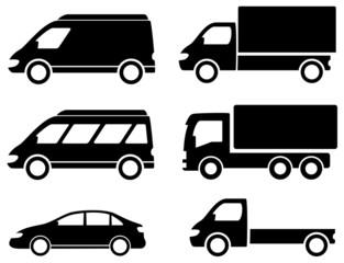 black set transport icons