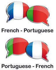 French - Portuguese translator clouds