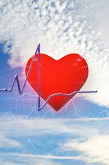 Cardiogram heart - 3D Rendering