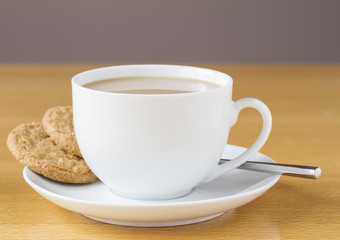 Cup of tea with two cookies