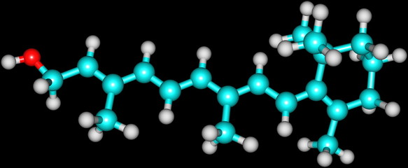 Retinol (Vitamin A) molecular structure on black