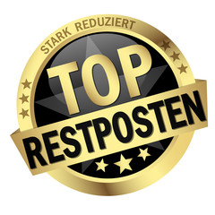 "Button mit Banner "" TOP RESTPOSTEN """