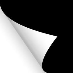 Papier / Seite umschlagen unten links schwarz
