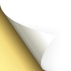Papier / Seite umschlagen unten links gold