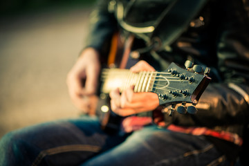 guitar in player hands