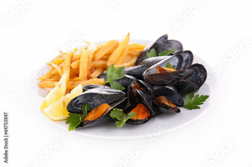 Papiers peints Coquillage mussel and french fries