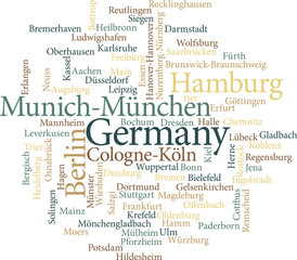 Illustration of the German Cities in word clouds