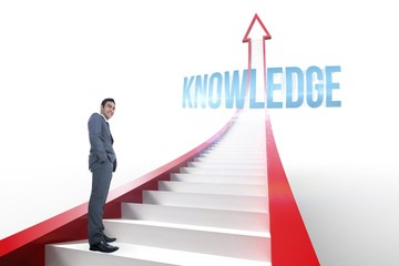 Knowledge against red arrow with steps graphic