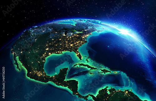 Leinwandbild Motiv land area in North America the night