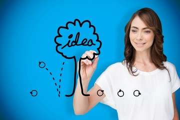 Composite image of businesswoman drawing idea tree