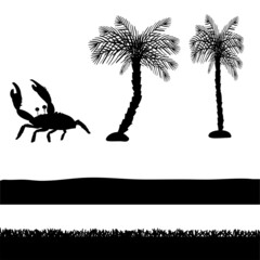 Vector silhouettes of palm trees.