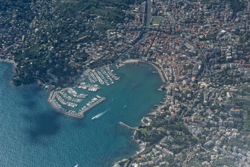 Rapallo village Italy aerial view