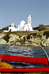 Church in Ios harbor, Cyclades, Greece