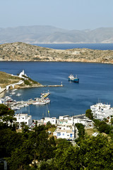 View of the port of Ios island, Cyclades, Greece