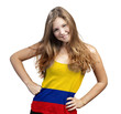 Young Woman with long curly hair and a t-shirt of Colombia