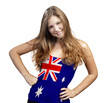 Young Woman with long curly hair and a t-shirt of Australia