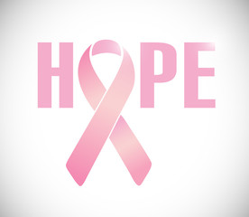 hope sign and pink cancer ribbon illustration