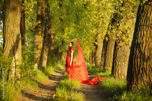 lady in red on the way