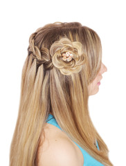 Braiding. French waterfall with flower