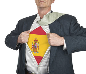 Businessman showing Spain flag superhero suit underneath his shi