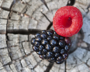 Blackberry and Raspberry on wood texture