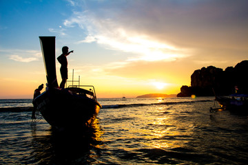 Sunset Rai Lay Beach Krabi Thailand