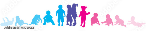Garçons et filles : étapes de la marche - 64760082