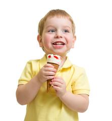 kid eating ice cream isolated on white studio shot