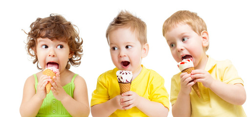funny kids group with icecream isolated