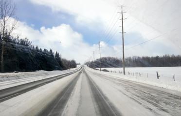 Snow covered road, Orangeville, Dufferin County, Ontario, Canada