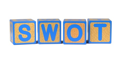 SWOT on Colored Wooden Childrens Alphabet Block.