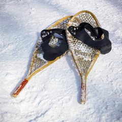 Snowshoes in snow, Orangeville, Dufferin County, Ontario, Canada