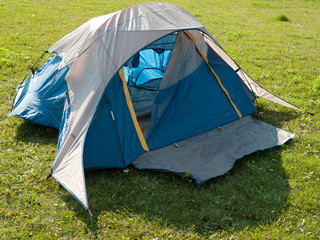 Camping tent on a grassland