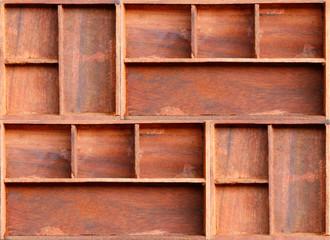 Empty brown wood cabinet shelf