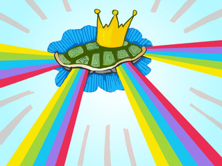 flying rainbow turtle